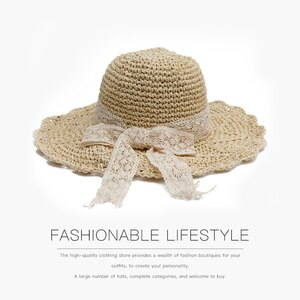 Hat Ladies Summer Lace Bowknot Straw Hat Outdoor Travel Big Eaves Sun Protection Leisure Small Fresh Sun Hat Trend