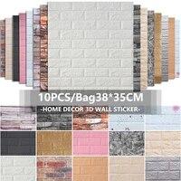3d brick wall stickers 3835cm diy self foam waterproof decor wall covering wallpaper for tv background kids living room