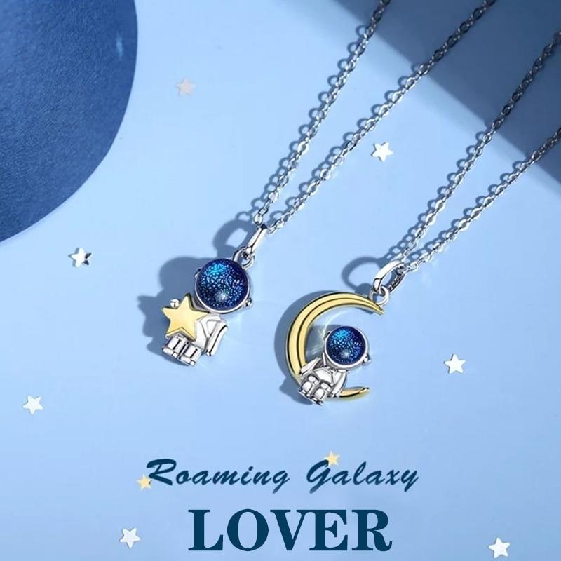 رائد الفضاء القمر عاشق قلادة درب التبانة الفضاء قلادة القلائد مجوهرات هدية ل Girlfrend مركبة الفضاء رائد الفضاء رومانسية قلادة