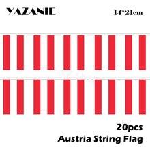 20 шт., австрийские флажки-ленты из полиэстера, 14 х21 см