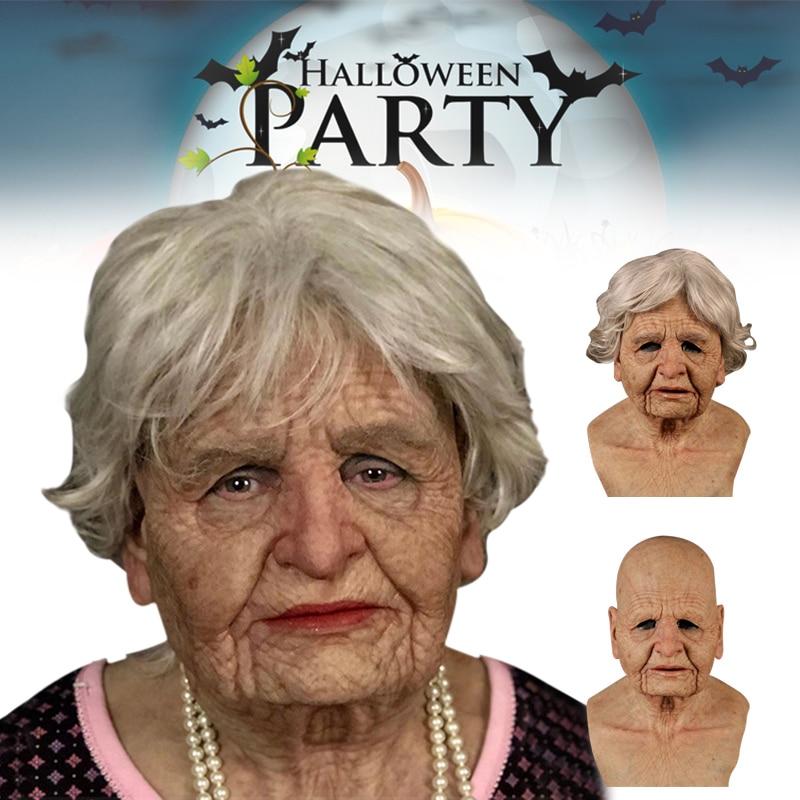 2020 nova festa de halloween chapelaria velha mulher completa máscara halloween chapelaria silicone elástico masquerade festa máscara brinquedos