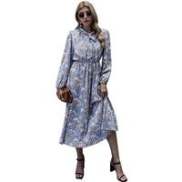 summer long sleeve high waist floral print beach dress women casual streetwear elegant holiday boho plus size dresses