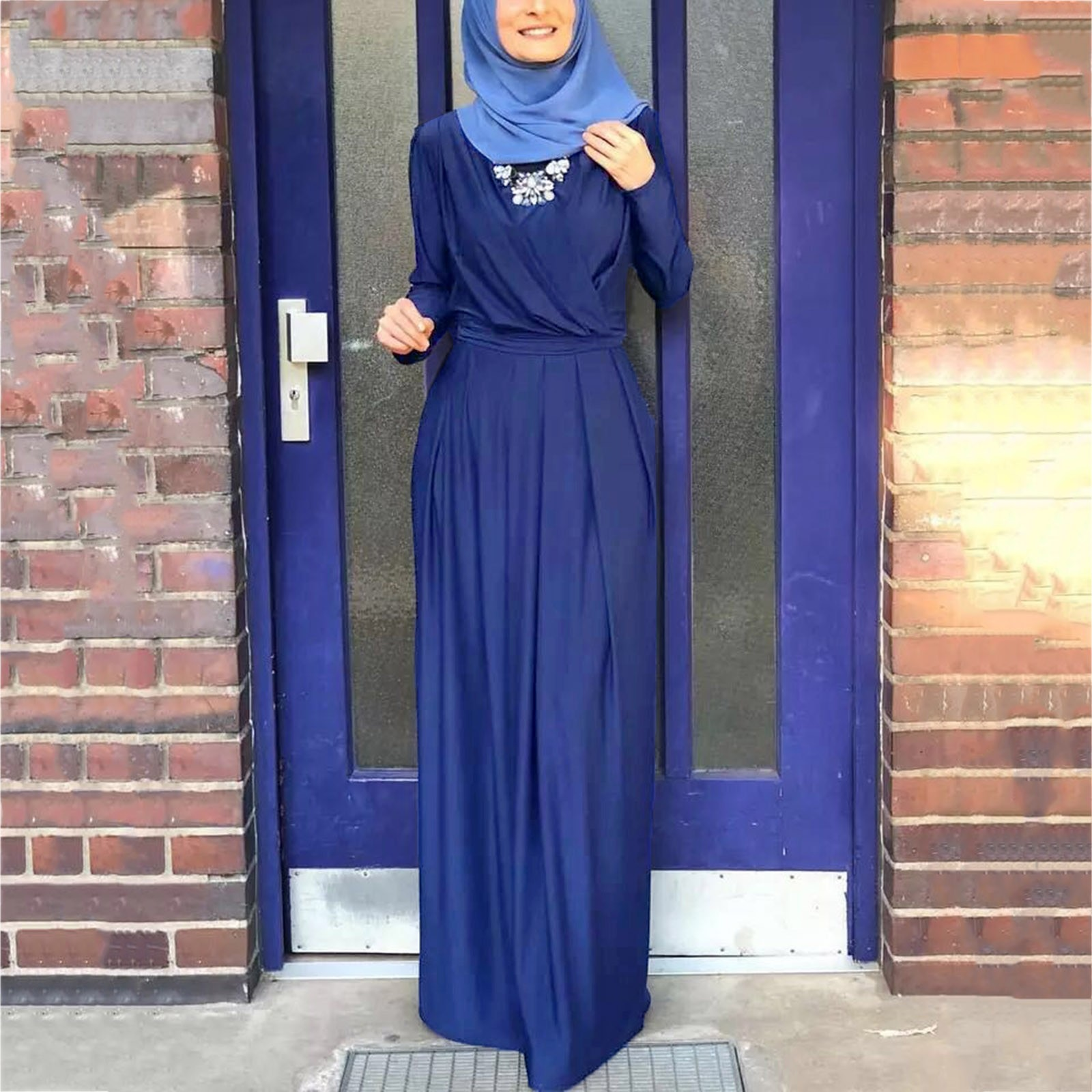 40# V Neck Maxi Dress Women Muslim Solid Color Long Sleeve Long Woman Dress Pleated Straight Robe Femme Vintage Women Clothing