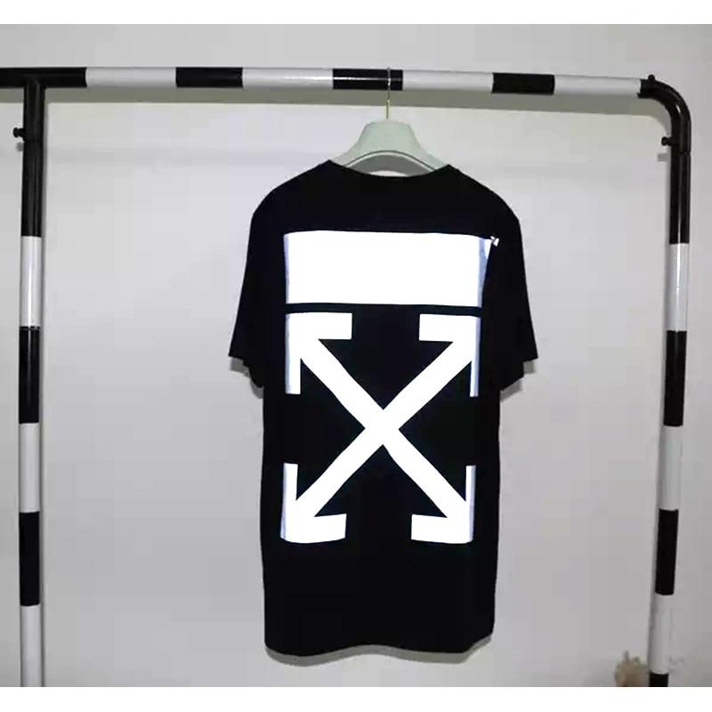 Camiseta reflectante Harajuku Hip hop Bult Arrow verano Flock Logotipo clásico off White