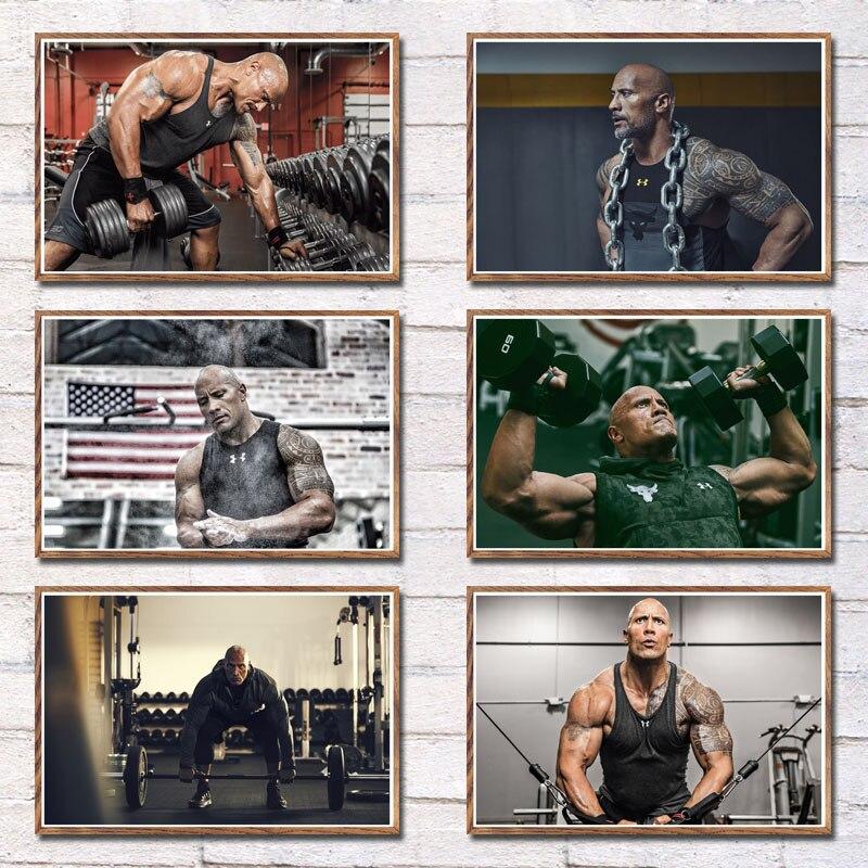 Pintura de arte muscular para entrenamiento de Fitness The Rock Dray Johnson, lienzo seda, póster de decoración para el hogar y la pared
