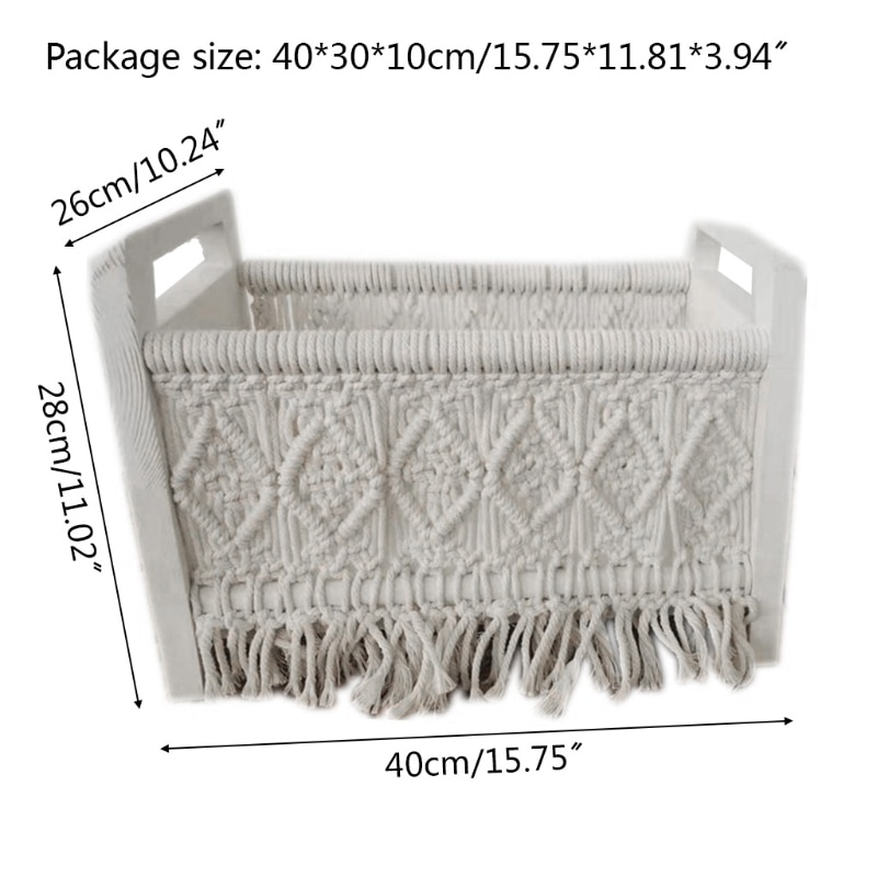 Newborn Posing Mini Bed Baby Photo Shooting Props Cotton Rope Weave Wooden Crib Infant Photograph Accessories 87HD