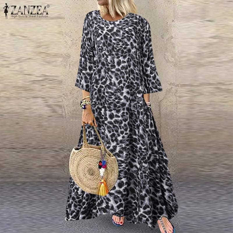 ZANZEA-Vestido largo informal para mujer, vestido largo estampado de leopardo con manga larga, Túnica bohemia de verano S-5XL 2020