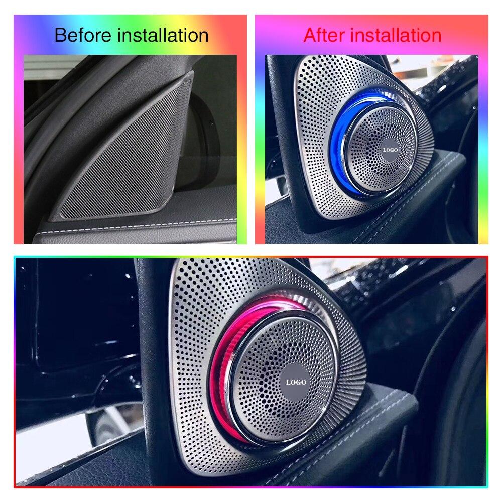 مكبر صوت ضوء دوار ثلاثي ثلاثي ثلاثي ، لمرسيدس بنز W205 W213 ، سلسلة ، LED 64 لونًا ، مكبر صوت ، بوق صوت ثلاثي