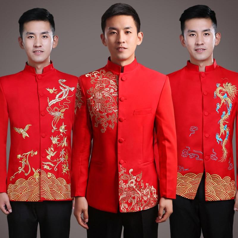 Abrigo rojo de la boda China antiguo China Festival de Primavera traje show Tang ropa novio Zhongshan Wear traje de actuación