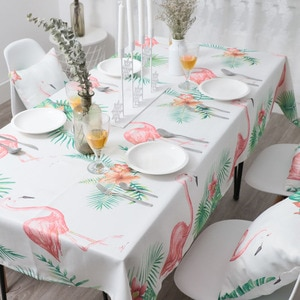 Rectangular tablecloth living room dining room round table waterproof and oil-proof protective cover flamingo printingTC008-C