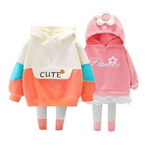 2021 spring and autumn new children's sports suit girls hooded long-sleeved sweater + trousers cotton sports two-piece suit