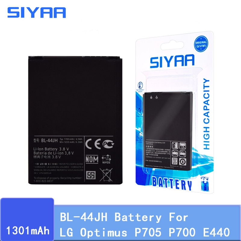 Оригинальный аккумулятор SIYAA BL-44JH BL44JH для LG Optimus P705 P700 E440 E460 LS860 MS770 LG730 US730 запасная литий-ионная батарея
