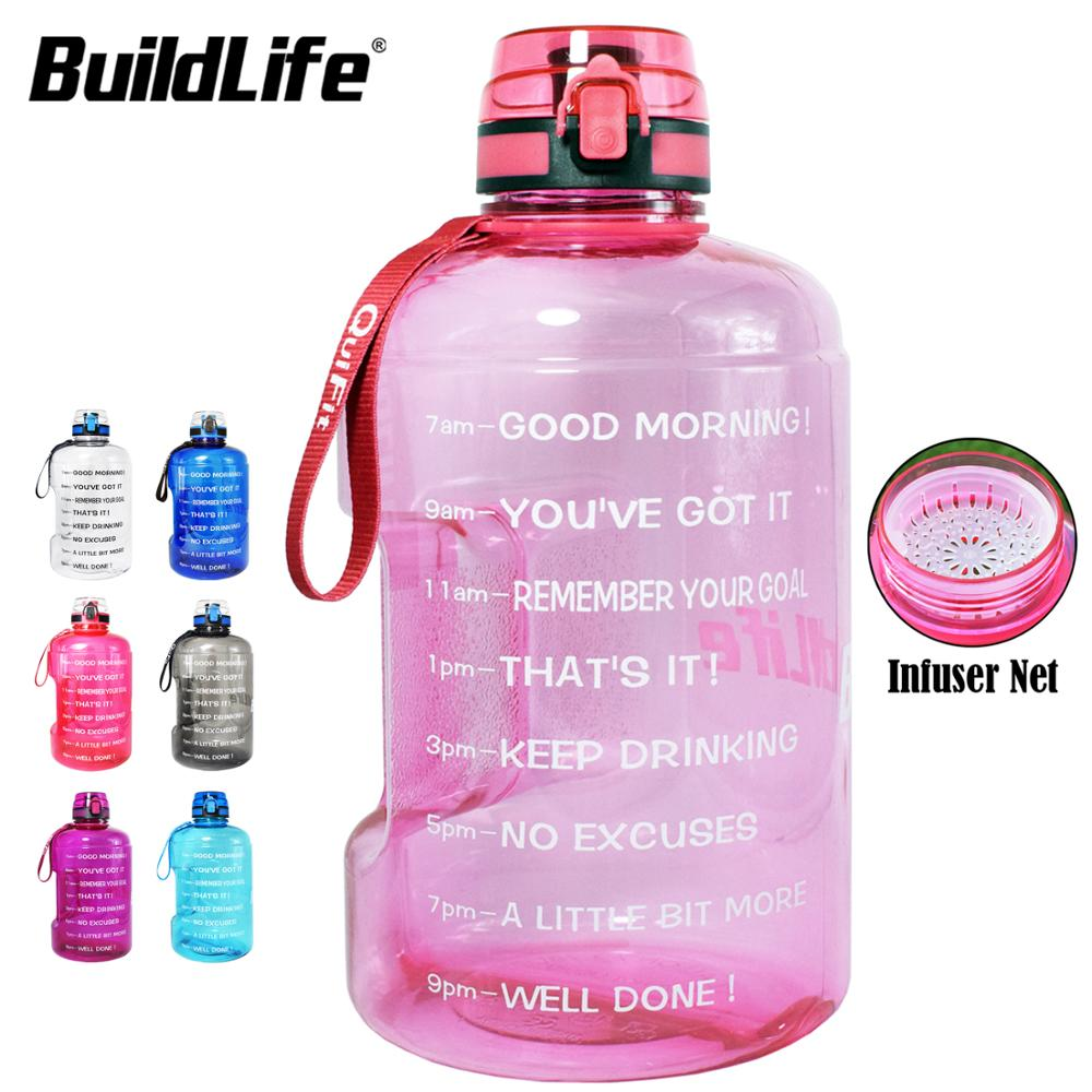 BuildLife 1.3L 2.2L 3.78L Water Bottle With Locking Flip-Flop Lid Outdoor Gym Bottles Fitness Sports