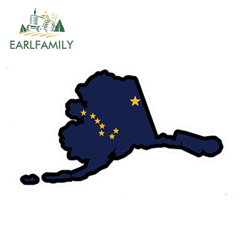 EARLFAMILY, 13cm x 7cm, diseño de coche, Bandera de Alaska, Mapa con forma impresa, pegatina de vinilo, pegatina Ak para automóvil de EE.UU., accesorios impermeables