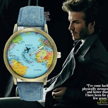 New global travel by plane map women watch denim fabric Band Ladies fashion watches Travel map patte
