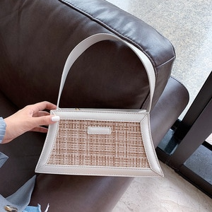 2020 New Fashion PU Leather Baguette Bags For Women Sac A Main Femme Summer Designer Shoulder Bag Female Straw Handbags Flap