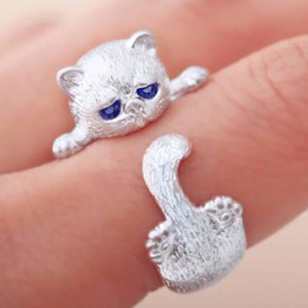 Anillos abiertos de gato lindo para mujeres hechos a mano Original moda chica prevenir alergias anillos elegantes joyería de boda femenina