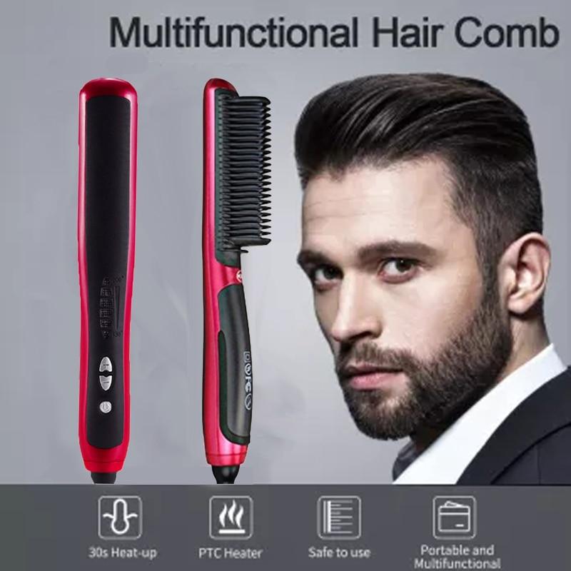 Professional Hair Straightening Brush Electric Ceramic Smooth Ionic Beard Straightener Comb for Men Portable Heating Hairbrush