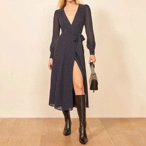Long Dress Clothing Women Chiffon Elegant Long Dress Print  Office Lady Shirt Dress Long Sleeve Pleated Dress Vestido