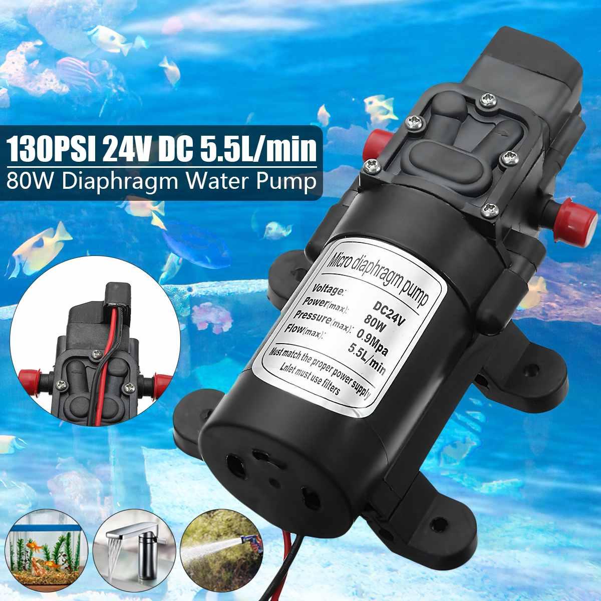 تيار مستمر 24 فولت 130PSI الزراعية الكهربائية مضخة مياه الأسود مايكرو ارتفاع ضغط الحجاب الحاجز المياه البخاخ غسيل السيارات 80 واط
