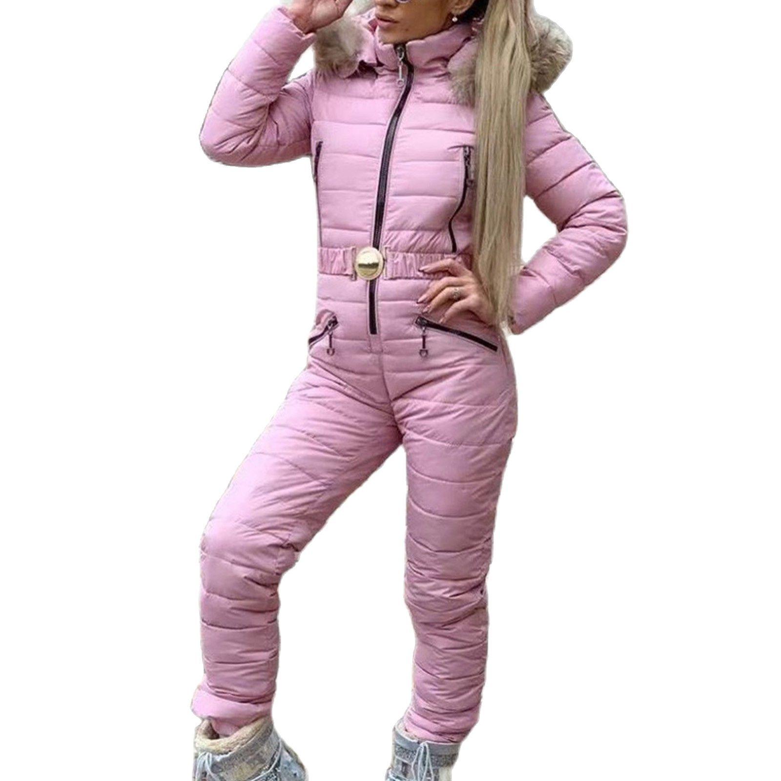 Winter Parka Women One Piece Ski Suit Jumpsuit Thick Hot Skisuit  Sports Zipper Ski Suit Overalls For Women Bodysuit Snow Jacket