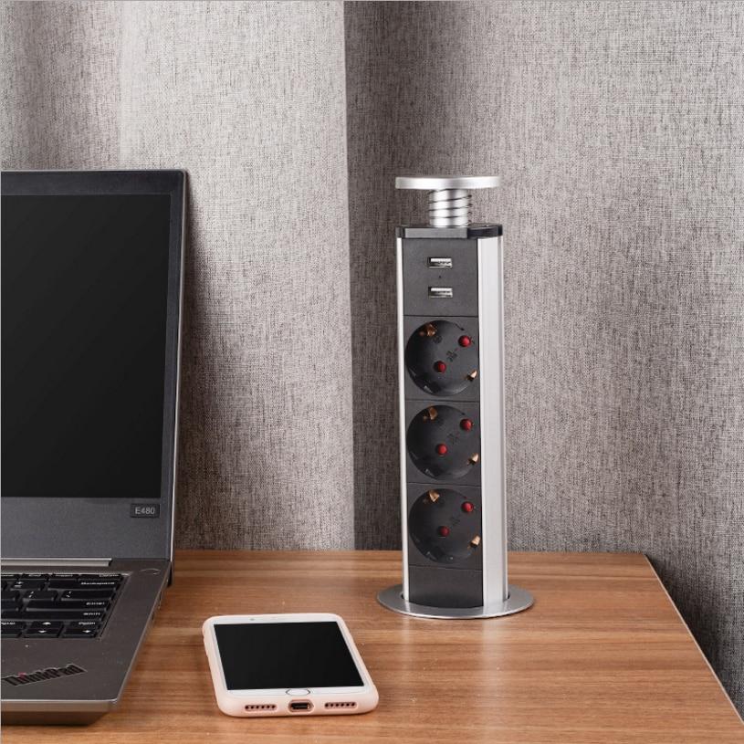 مقابس رفع لسطح المكتب ، الاتحاد الأوروبي ، 3 طاقة مع 2 USB ، مقبس طاولة مخفي مدمج ، معدات كهربائية