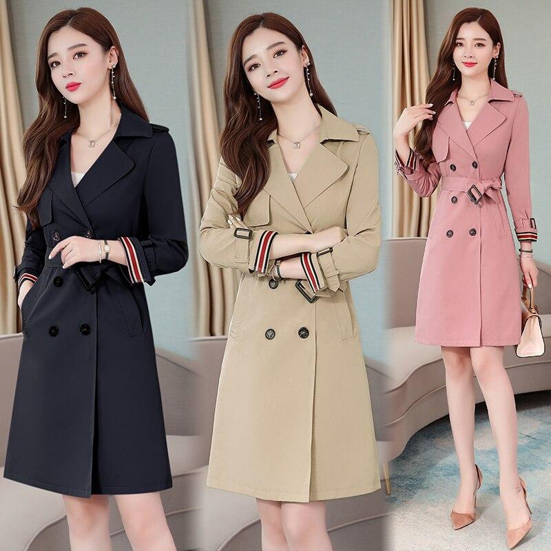 Womens Trench Coat 3 Colors Pink Khaki Navy Autumn Winter Kneel-length Casual Office Elegant Duster Coat Korean Style Overcoat