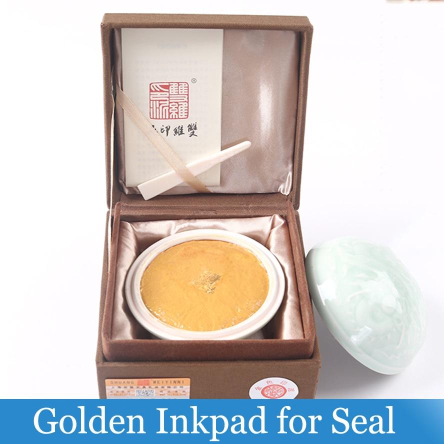 Chinês de Ouro pasta usada para selos Inkpad para Pintura A Tinta Da Caligrafia Material de Pintura de Arte
