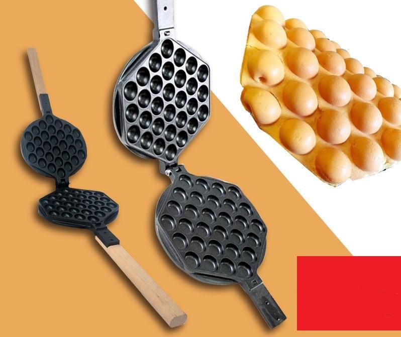 Máquina comercial para hacer gofres con burbujas y huevos de Hong Kong, molde para hornear con rodillos, molde para galletas de hierro, plato antiadherente para magdalenas