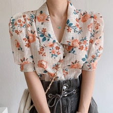 South Korea Chic Summer Style Lapel Chic Single Breasted Embroidery Hollow Out Floral Short Sleeve S