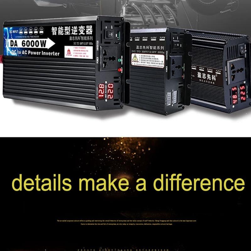 Inverter 12V 220V 2000w 5000w 6000w Power Inverter Converter Solar DC 12V 24V To AC 220V Voltage Transformer Household DIY