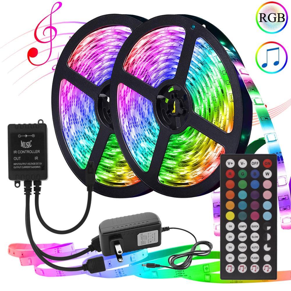 Tira de luces LED RGB con control remoto para música, cinta Flexible...
