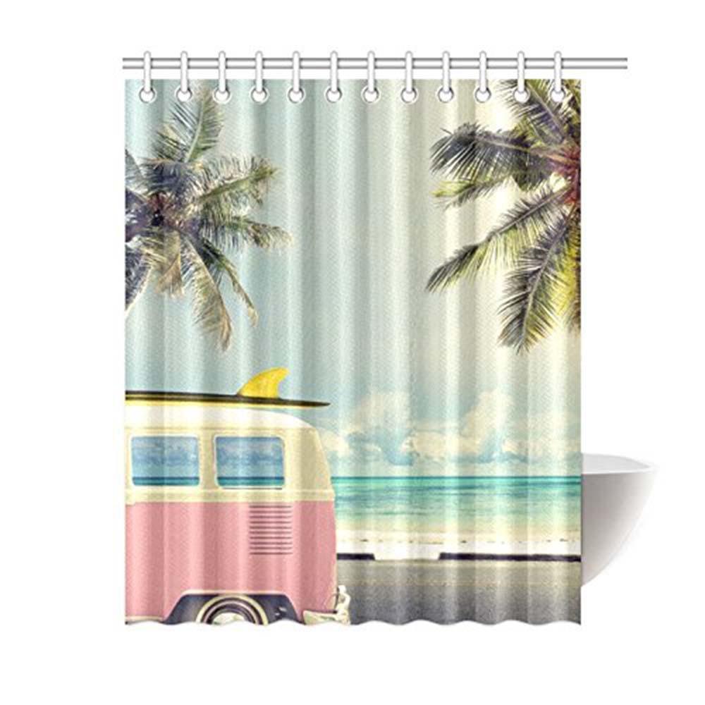 Aplysia изготовленный на заказ винтажный автомобиль на пляже с доской для серфинга Ванная комната Водонепроницаемая Ткань занавеска для душа ...
