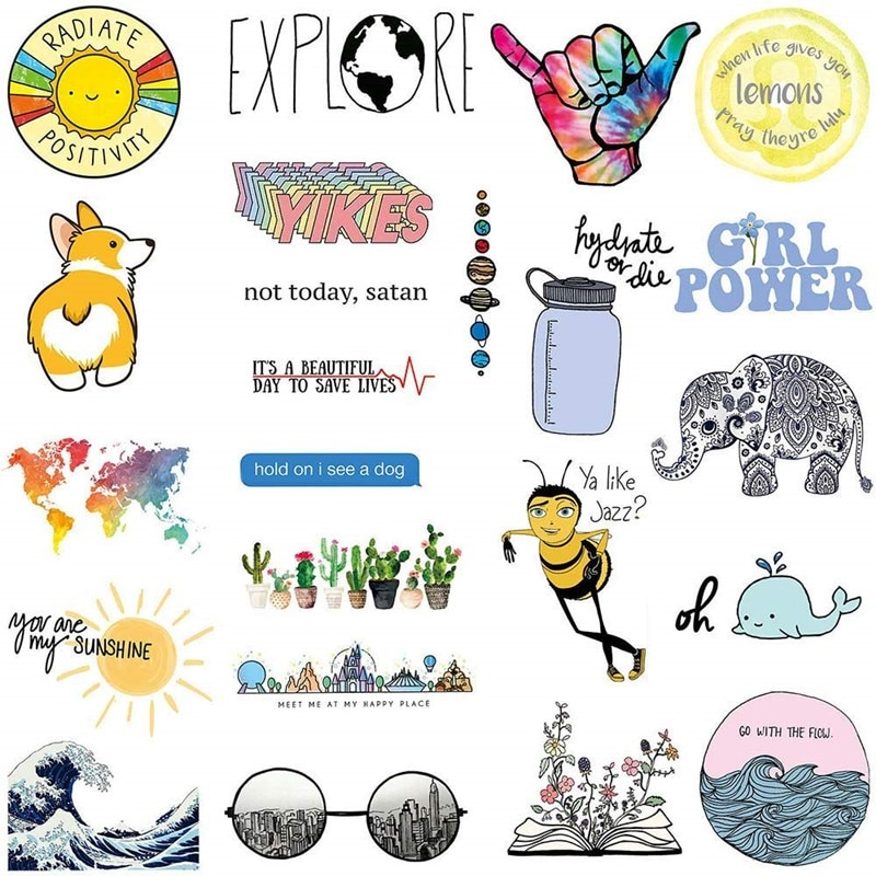 Big Cute Stickers 23Pcs Laptop and Water Bottle Decal Sticker Pack for Teens, Girls, Women Vinyl Stickers Waterproof
