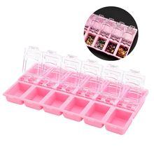 2019 nowy przyjazd DIY kostki lodu cekiny brokat w proszku pudełko do przechowywania różowy ozdoby do paznokci pudełko do przechowywania wyświetlacz Box