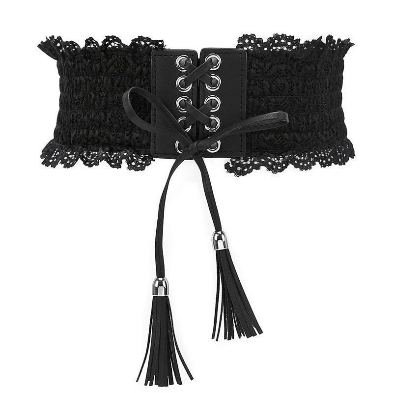 Elegant Women Fashion Waist Tassel Belt Stretch Buckle Bow Wide Lace Elastic Belt Tie Wrap Around Waist Band Dress Belt surplice wrap tie waist stripe dress