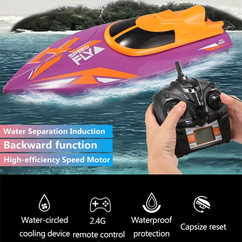 Pointed High Speed RC Boat 30KM/H 150M Capsize Reset Cooling Device Water Separation Sensor Back Function Waterproof RC Boat Toy