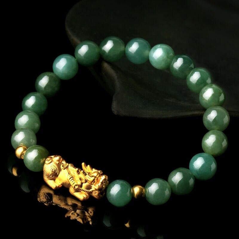 """Настоящее 24 К желтое золото 3D Luck Pixiu & Натуральный Зеленый жадеит бусины звено браслет 6,7 """"L"""