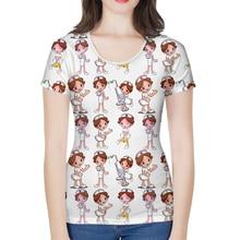 Nopersonality White Cartoon Nurse Print Tshirts for Women Unique Cartoon Femme Summer Short Sleeve Funny Ladies T Shirt Tops
