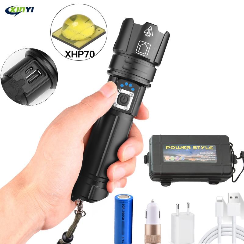 80000LM potente linterna Led XHP70 linterna de carga USB Zoom led linterna lanter 1*26650 batería para Camping ciclismo lámpara