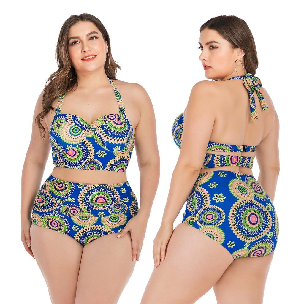 Traje De baño 2020 mujeres Sexy Halter estampado alta cintura Bikini conjunto Push Up traje De baño Biquini Maillot De Bain Femme
