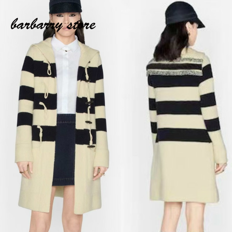 luxury brand letter printing fashion women's versatile Navy color matching striped ox horn button knitted long sleeved cardigan
