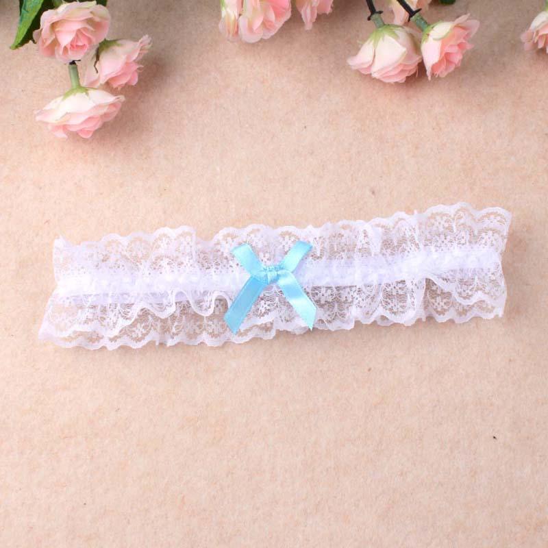Großhandel Frauen Mädchen Prinzessin Cosplay Hochzeit Party Braut Spitze Floral Blau Bein Ring Schleife Strumpf Strumpfband Gürtel