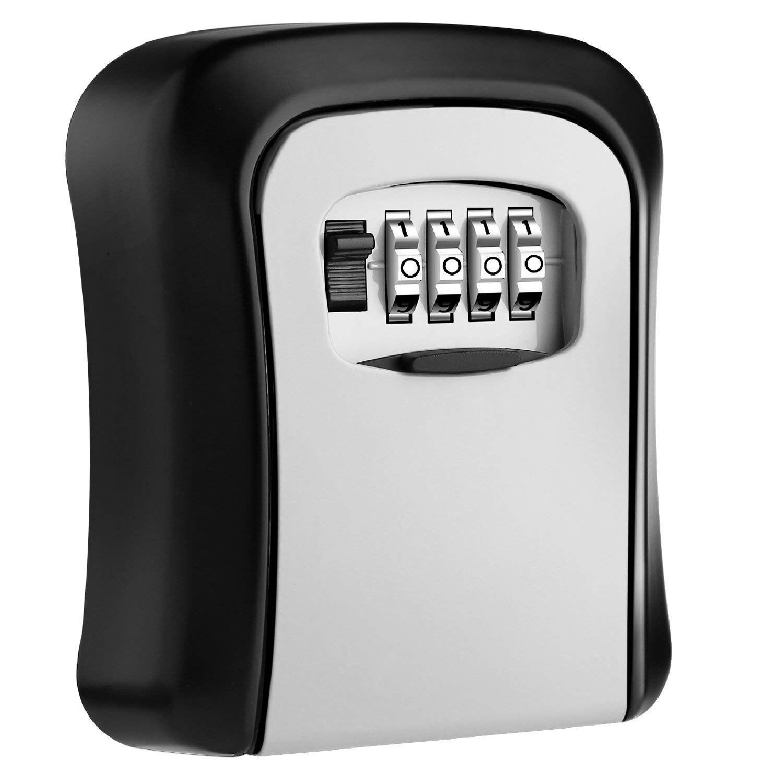 Key Lock Box Wall Mounted Aluminum alloy Key Safe Box Weatherproof 4 Digit Combination Key Storage Lock Box Indoor Outdoo