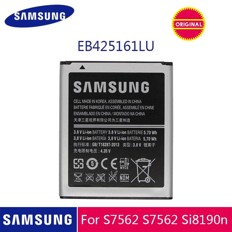 Оригинальная батарея Samsung EB425161LU 1500 мАч для Galaxy S Duos S7562 S7566 S7568 i8160 S7582 S7560 S7580 i8190 i739 i669 J1 Mini