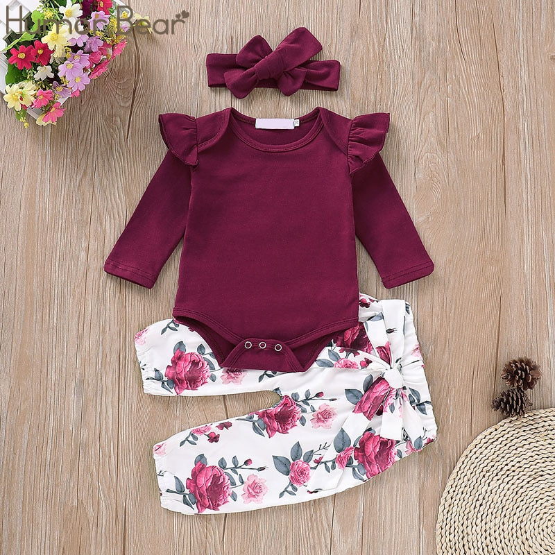 Humor Bear 2019 Autumn Baby Girls Clothes Sets Cotton Long sleeve T-shirt+Flower Pants+Headband 3Pcs Jumpsuit Toddler Kids Suit