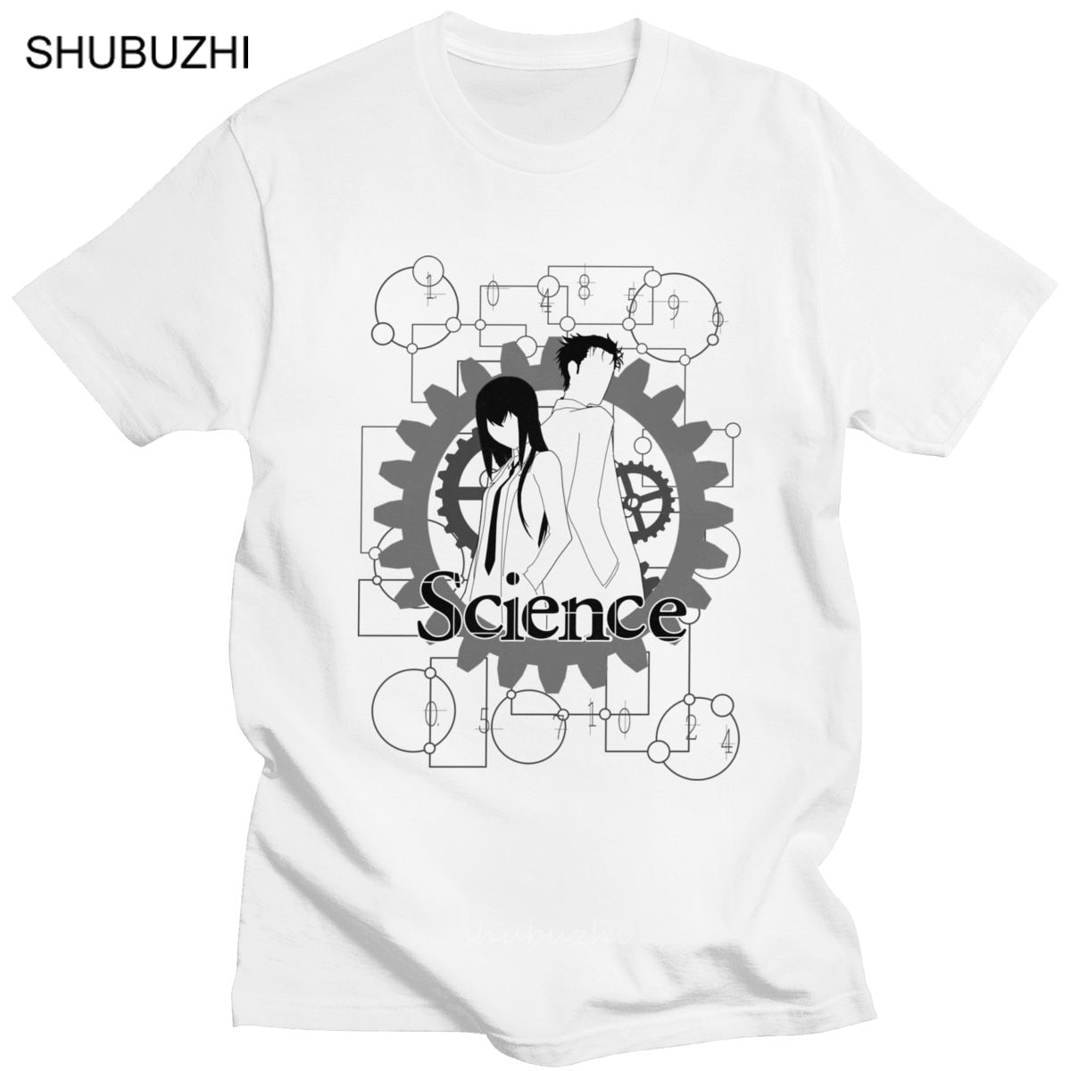 Camiseta clásica de Steins Gate para hombre, camiseta de Manga corta de Anime Okabe Mayuri Manga Daru Shiina Rintaro, Camiseta de algodón para verano
