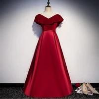 african evening dresses a line burgundy satin evening dress long dress 2021 fashion vestidos de baile lace up back party gown