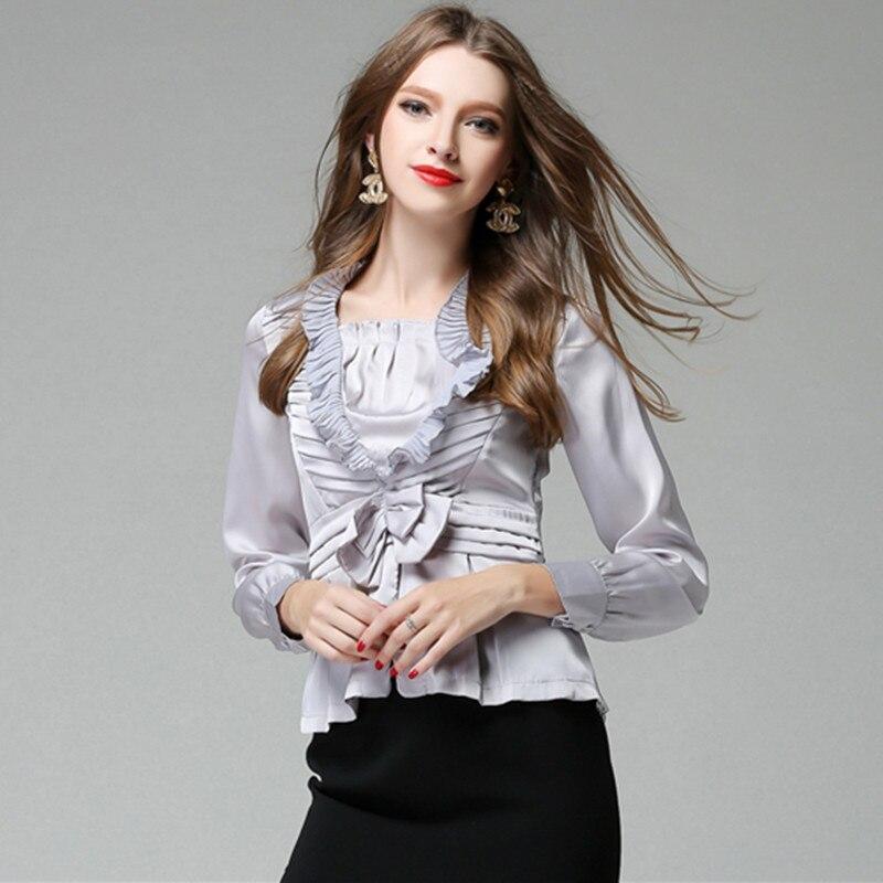 2020 blusas ajustadas de moda de oficina para mujeres blusas con volantes lazo plata Tops camisa primavera otoño manga larga de gama alta Tops de seda Real