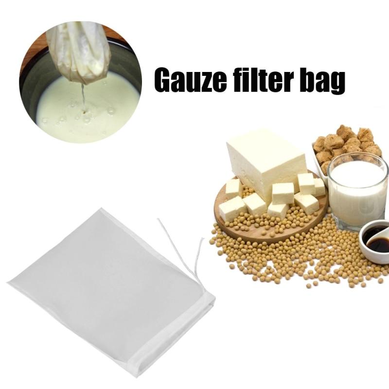 1 ud. Malla reutilizable bolsa de filtro jugo Yogurt leche de soja bolsas de filtro malla fina tela de Nylon TXTB1